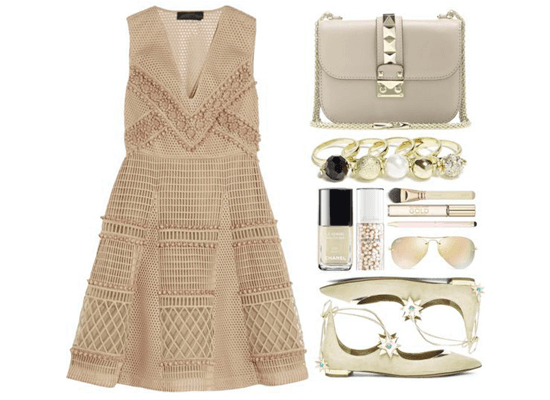 matching beige dress and accessories