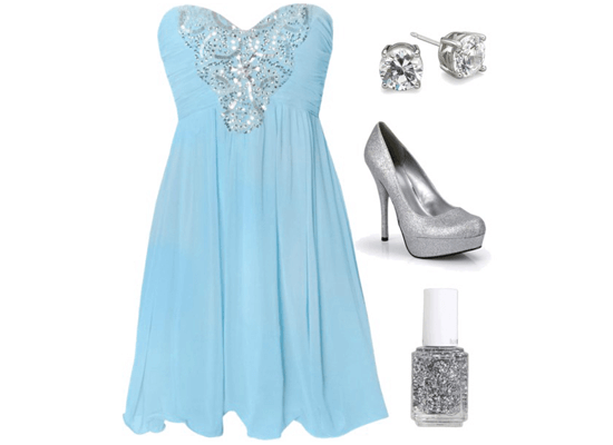 blue and silver dress and accessories
