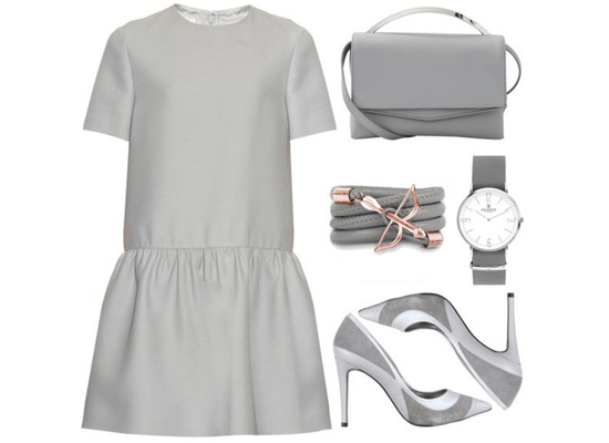 matching gray dress and accessories