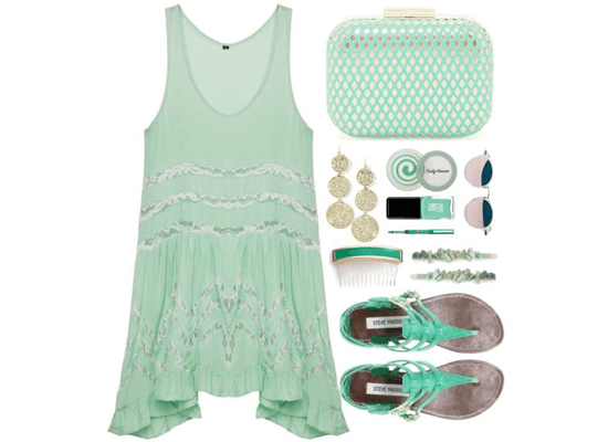 green dress and accessories