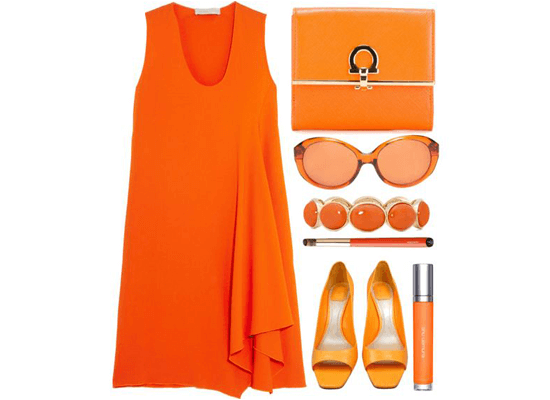 orange color themed wardrobe