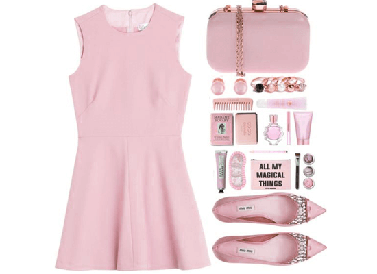 soft pink dress and accessories