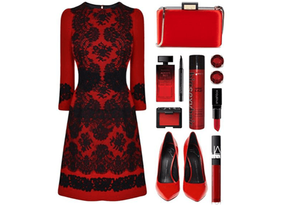 sexy red dress and accessories