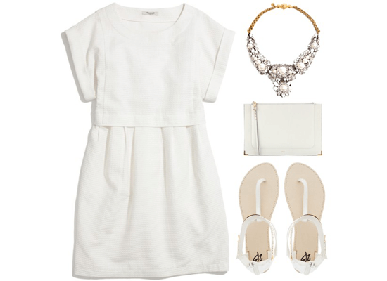 immaculate white dress and accessories