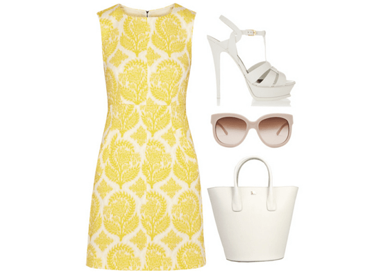 yellow and white dress and accessories
