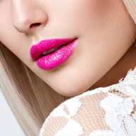 woman with pink lips