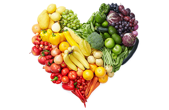 heart shape made from vegetables and fruits