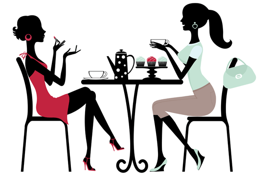 silhouette of girls having tea