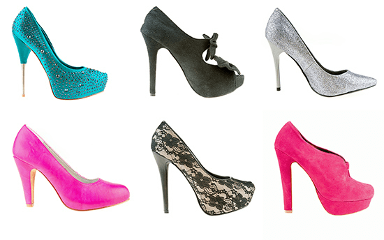 variety of colored high heels