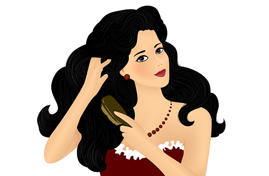 cartoon lady with thick black hair