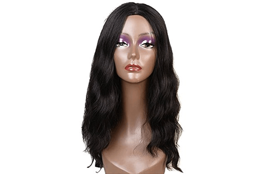 long black wig on display