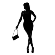 silhouette of a woman and handbag