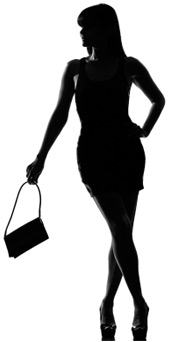 silhouette of a woman and bag