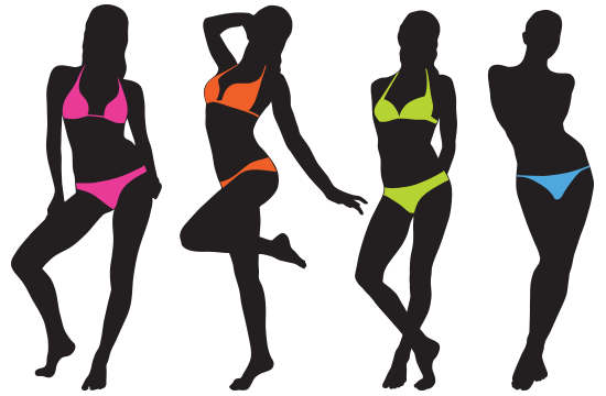 silhouettes of women in bikinis