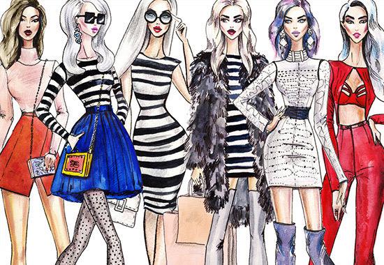 drawing of stylish women