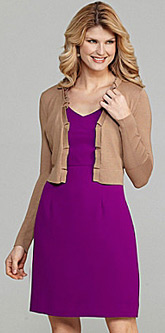 woman in violet dress and brown blazer