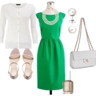green outfit with white accessories
