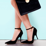 black heels and bag