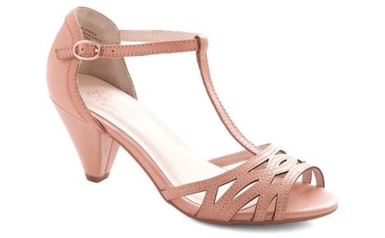 t-strap pink heels