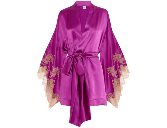 silky violet robe with embroidered sleeves