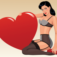 woman in lingerie with love heart