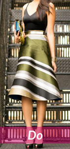black and green top and skirt