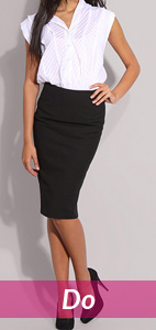 white blouse and black pencil skirt