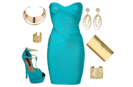 blue dress and gold apparel