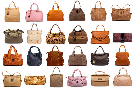 an assortment of nature toned handbags