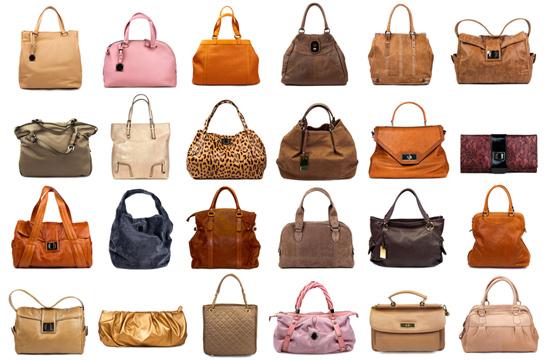 an assortment of nature toned handbags