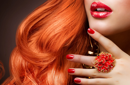 red hair and lips and nails