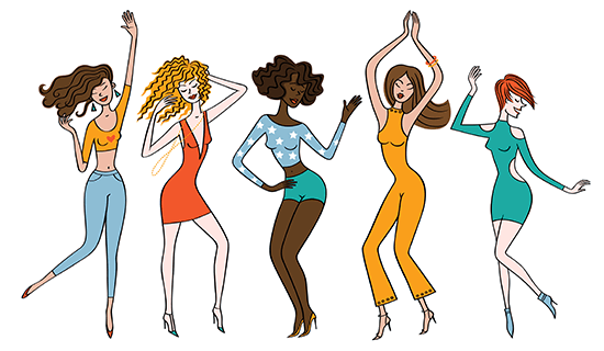 cartoon women celebrating