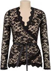 black wrap around blouse