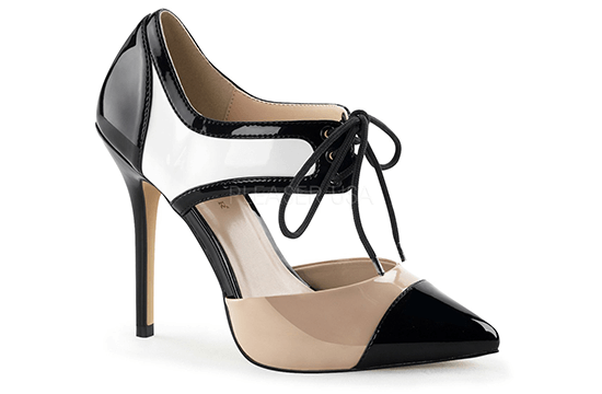 beige and black heeled shoe