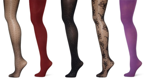 different styles and colors of tights