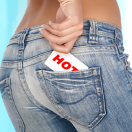 card in a jeans back pocket