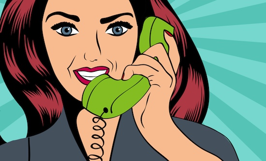 woman on the phone cartoon