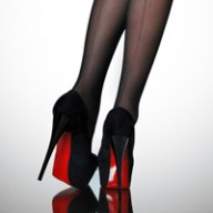 black heels with red sole