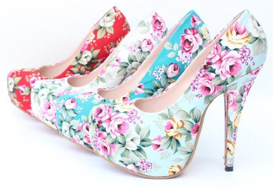 summer floral high heels