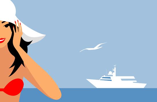 cartoon lady and boat