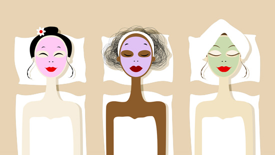 cartoon girls with face masks in spa