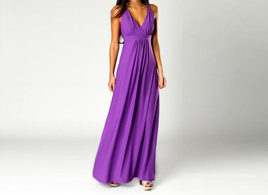 violet flowing maxi dress