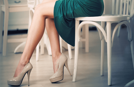 smooth legs and nude high heels