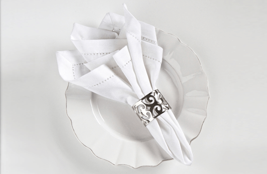 styled napkin in napkin ring