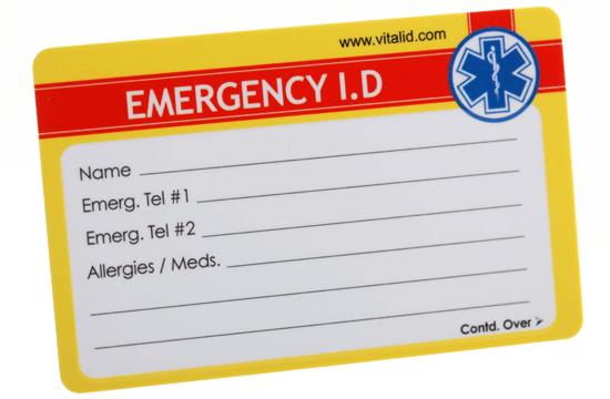 emergency ID card