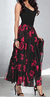long black dress with red floral skirt