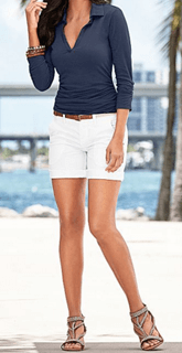 white denim shorts and dark blue top
