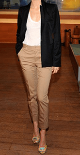 light brown pants paired with white top and black blazer
