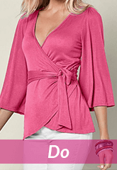 pink wrap around blouse