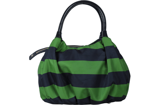 green striped handbag